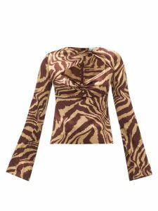 Ganni - Asymmetric Cut-out Tiger-print Satin Blouse - Womens - Multi