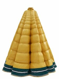 1 Moncler Pierpaolo Piccioli - Erminia Hooded Striped Down-filled Gown - Womens - Yellow Multi
