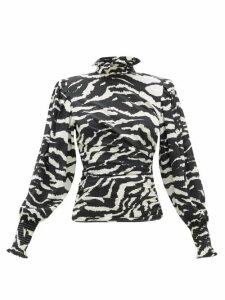 Isabel Marant - Fantine Smocked-neck Tiger-print Silk-blend Blouse - Womens - Black White