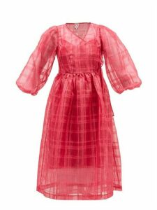Shrimps - Georgia Checked Cat-print Organza Wrap Dress - Womens - Pink