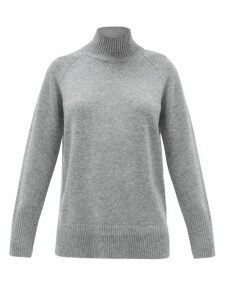 Cefinn - Mock-neck Wool-blend Sweater - Womens - Dark Grey