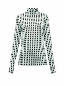 Proenza Schouler White Label - Roll-neck Checked Cotton-blend Jersey Top - Womens - Light Blue