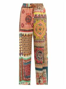Etro - Patchwork-print Silk-crepe Trousers - Womens - Red Multi