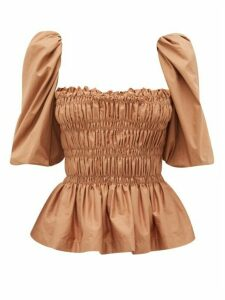 Johanna Ortiz - Artistic Senses Smocked Cotton-blend Top - Womens - Light Brown