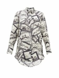 Joseph - Dawson Stamp-print Shirt - Womens - Black White