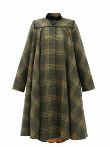 Gucci - Velvet-collar Checked-wool Cape Coat - Womens - Grey Multi