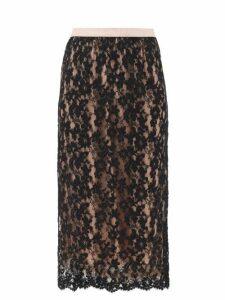Gucci - Logo-waist Floral-lace Skirt - Womens - Black