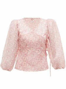 Shrimps - Cordelia Cat-print Organza Wrap Top - Womens - White
