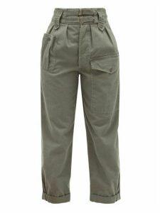 Saint Laurent - Buckled Cotton-blend Cropped Trousers - Womens - Khaki