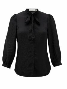 Cefinn - Willow Pussy-bow Leopard-jacquard Shirt - Womens - Black