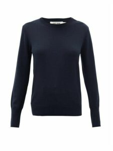 Cefinn - Shoulder-placket Knitted-wool Sweater - Womens - Navy
