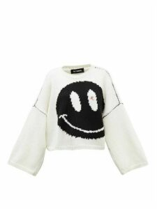 Raf Simons - Smiley-intarsia Cropped Wool Sweater - Womens - White