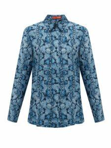 Altuzarra - Chika Python-print Silk Blouse - Womens - Blue
