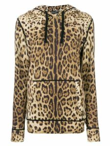 Dolce & Gabbana leopard print cashmere hoodie - Brown