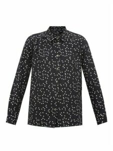 A.P.C. - Heart-print Silk Blouse - Womens - Navy
