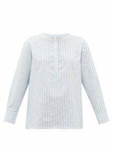 A.P.C. - Nine Striped Cotton-blend Poplin Shirt - Womens - Light Blue