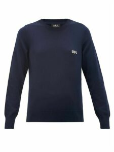 A.P.C. - Logo-jacquard Knitted Cotton Sweater - Womens - Navy