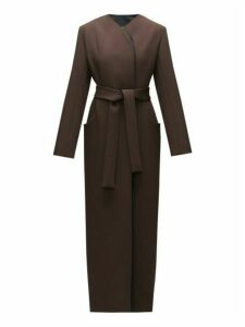The Row - Brie Waist-tie Double-lapel Wool-blend Coat - Womens - Dark Brown