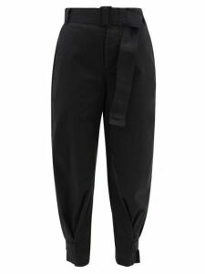 Proenza Schouler White Label - Belted Cotton-blend Twill Trousers - Womens - Black