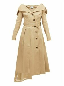 A.w.a.k.e. Mode - Off-the-shoulder Cotton Trench Coat - Womens - Beige