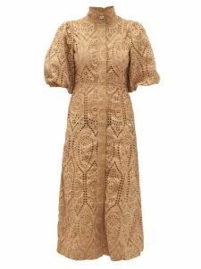 Ganni - Crystal-button Puff-sleeve Broderie-anglaise Dress - Womens - Beige