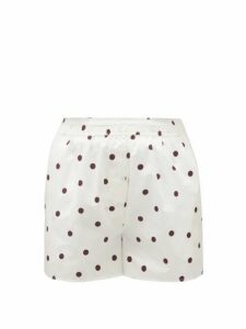 Ganni - High-rise Polka-dot Cotton Poplin Shorts - Womens - White Multi