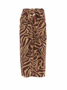 Ganni - Knotted Tiger-print Silk-blend Satin Midi Skirt - Womens - Multi