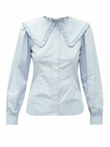 Ganni - Ruffled-collar Striped Cotton-poplin Blouse - Womens - Light Blue
