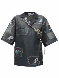 Ganni - Floral-embroidered Organza Wrap Shirt - Womens - Black