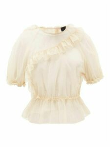 Simone Rocha - Frill-trimmed Puff-sleeve Tulle Top - Womens - Nude