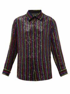Ashish - Sequin-embellished Chiffon Shirt - Womens - Black Multi