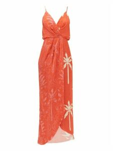 Johanna Ortiz - Colour Flow Floral-print Jacquard Dress - Womens - Red