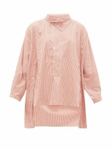 Palmer//harding - Miad Asymmetric Striped Cotton-poplin Shirt - Womens - Red White