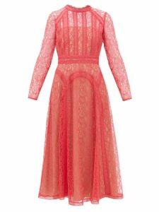 Self-portrait - Floral-lace Midi Dress - Womens - Pink
