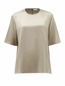 Raey - Crew-neck Silk-satin Top - Womens - Grey