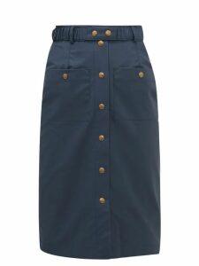 Symonds Pearmain - Waxed-cotton Pencil Skirt - Womens - Navy