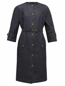 Symonds Pearmain - Belted Patch-pocket Denim Coat - Womens - Denim