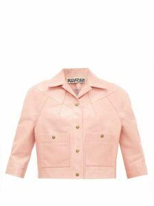 Symonds Pearmain - Cropped-sleeve Leather Jacket - Womens - Pink