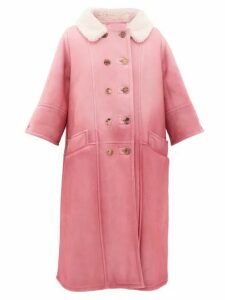 Prada - Collared Double-breasted Shearling Coat - Womens - Light Pink