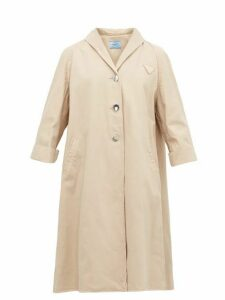 Prada - Triangle-appliqué Denim Coat - Womens - Beige