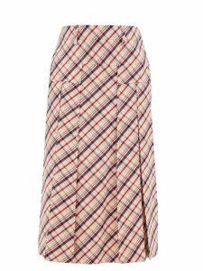 Prada - Checked Wool-twill Skirt - Womens - Red White