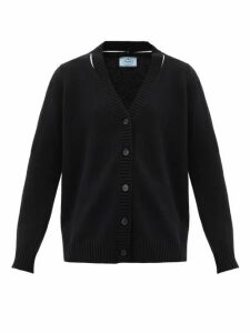 Prada - Oversized Slit-neck Wool-blend Cardigan - Womens - Black