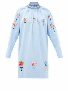 Prada - Floral-embroidered Cotton-poplin Longline Blouse - Womens - Light Blue