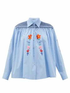 Prada - Floral-embroidered Smocked Cotton Blouse - Womens - Light Blue