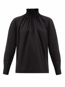 Prada - High-neck Cotton-poplin Blouse - Womens - Black