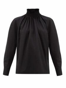 Prada - High-neck Cotton-poplin Blouse - Womens - Black