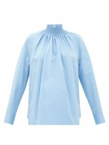Prada - High-neck Cotton-poplin Blouse - Womens - Light Blue