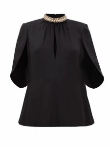Prada - Crystal-embellished Crepe Top - Womens - Black