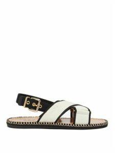 Marni - Two-tone Canvas Slingback Sandals - Womens - Black Cream
