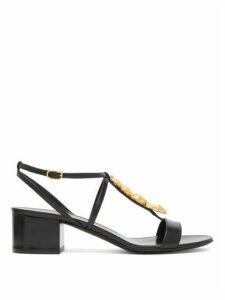 Valentino Garavani - Maison Snake T-bar Leather Sandals - Womens - Black